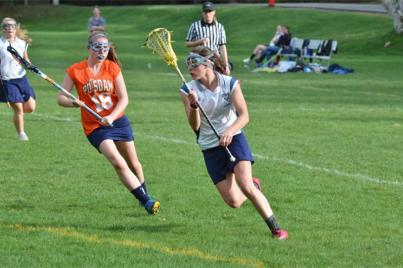 Girls' lacrosse action.
