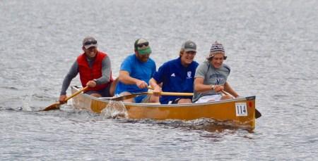 Mr. Nemec, Mr. Eaton, Lars Kroes '21 and Cisco DelliQuadri '20 at the 90-Miler Canoe race in September, 2019 (Photo provided).