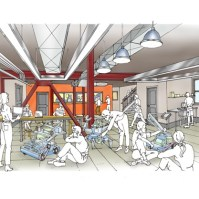 "This rendering shows what the first floor of the Innovation Hub, slated to include a ""maker space"" for students, may look like. (Provided photo — Northwood School)"