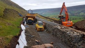 Rosedale landslip repairs autumn 2016 - behind the gabion wall. Copyright NYMNPA.