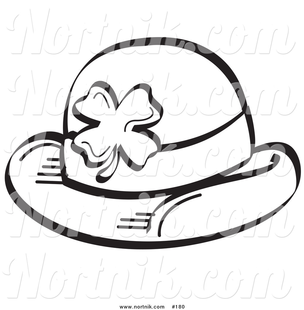 Clipart Of Irish Derby Hat With Shamrock By Andy Nortnik