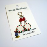 earrings that look like holiday spearmint candies by Karen Roodman