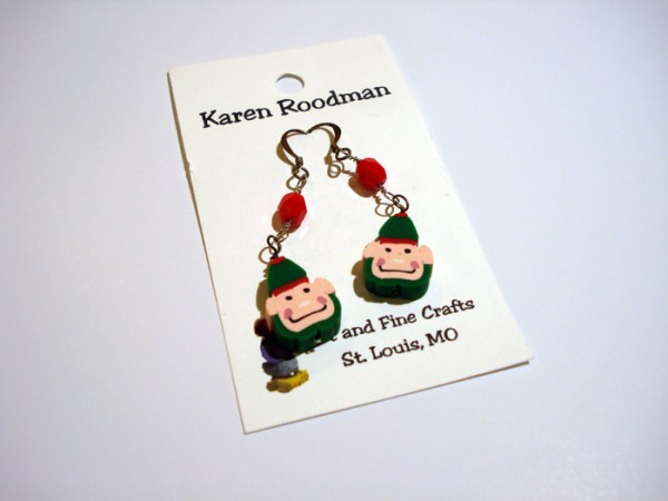 earrings that look like little Christmas elf faces by Karen Roodman