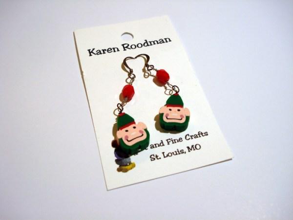 earrings that look like little Christmas elf faces by Karen Roodman