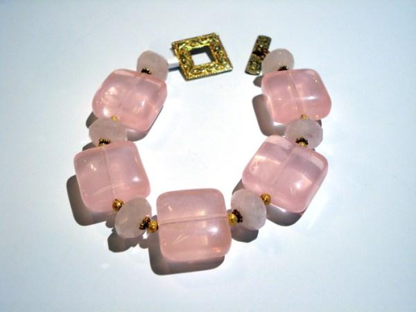 bracelet of large pink stones