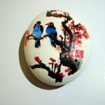 small white stone with blue birds sitting on tree in the Asian style by Ping Yan