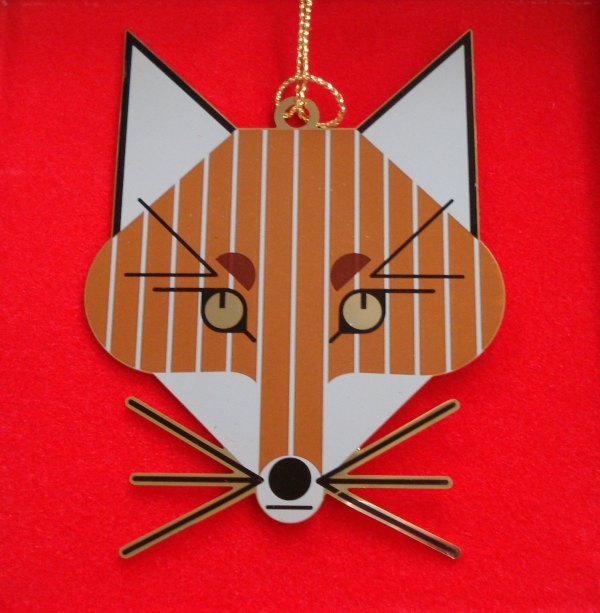 Charley Harper Brass Ornament - Fox