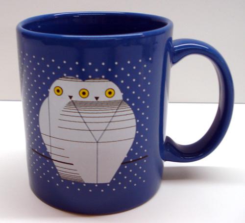 Blue mug with Charley Harper image Twowls