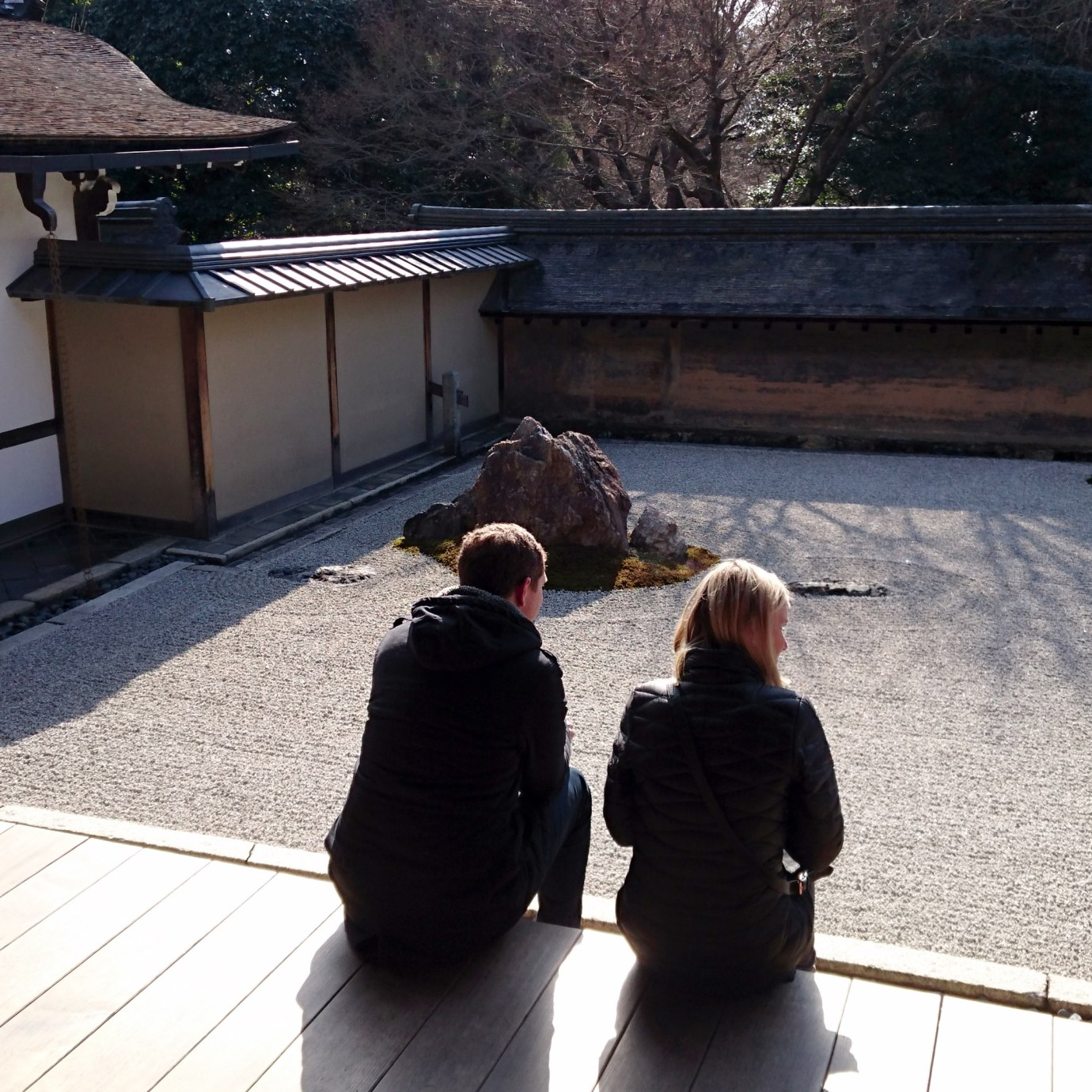 Sitting on the veranda at Ryoanji, Kyoto