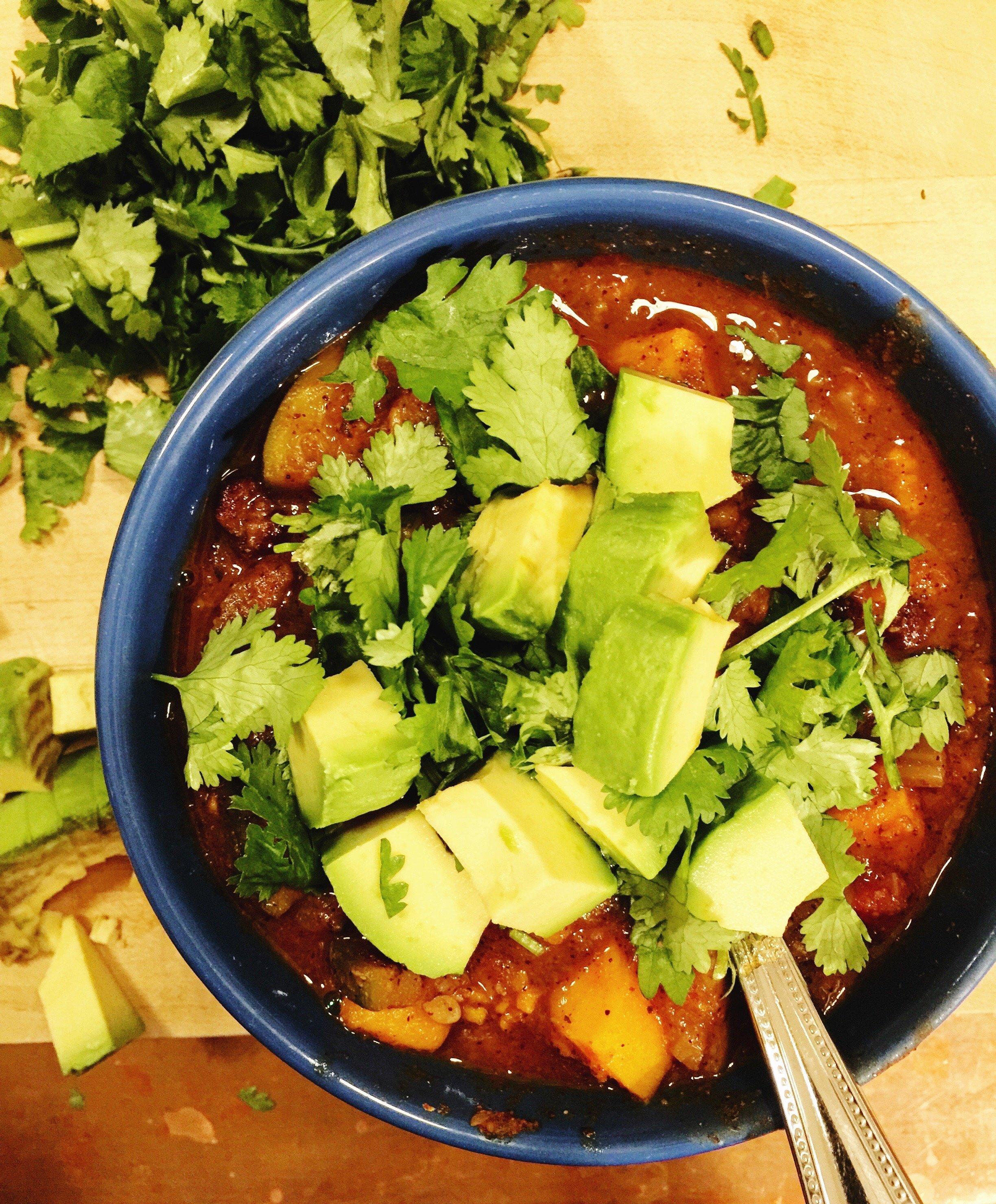 beef and veggie-loaded chili