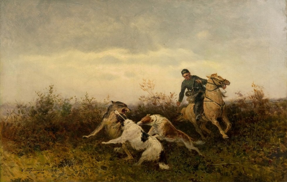 Russisk Ulvehund i kamp med ulv