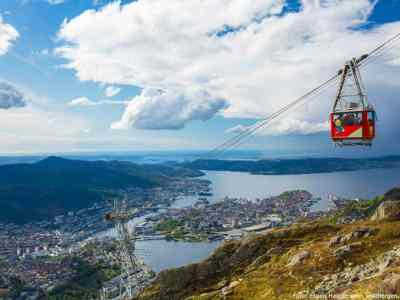 Ulriken cable car, seen from Mt. Ulriken, Bergen