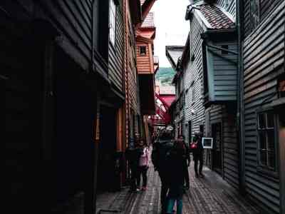 Inside the Hanseatic wharfs at Bryggen, Bergen