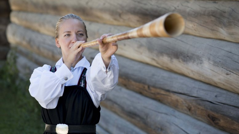 A Norwegian girl in a traditional Norwegian costume, and with a traditional Norwegian instrument.
