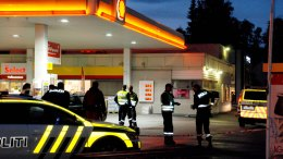 Police at a gas station