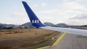 An SAS aircraft is ready for departure from Bodø Airport.