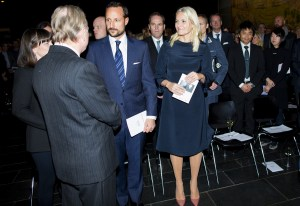 Crown Princess Mette-Marit and Crown Prince Haakon visiting the Munch Museum in Oslo