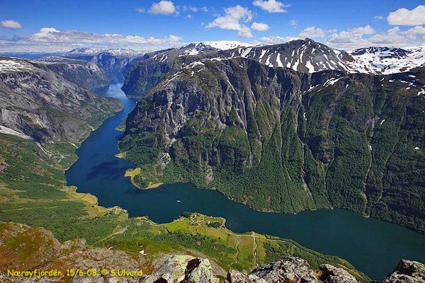 The Nærøyfjord, a part of the Sognefjord.