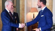 Professor Andrew Wathey CBE meeting Crown Prince Haakon of Norway.