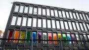 The Windows of the a us Embassy in Oslo is dressed in Rainbow colors on Sunday evening.