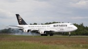 "Ron maiden's own airplane ""Ed Force One"" arrived at the Oslo airport Monday night"