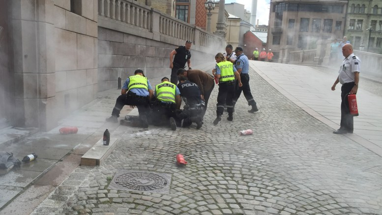 Male poured lighter fluid over himself in front of Parliament