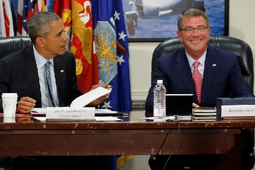 U.S. President Barack Obama and Defense Secretary Ash Carter