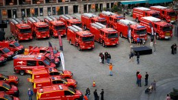 36 brand new and shiny red fire trucks