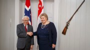 Prime Minister Erna Solberg and Singapore President Tony Tan Yam