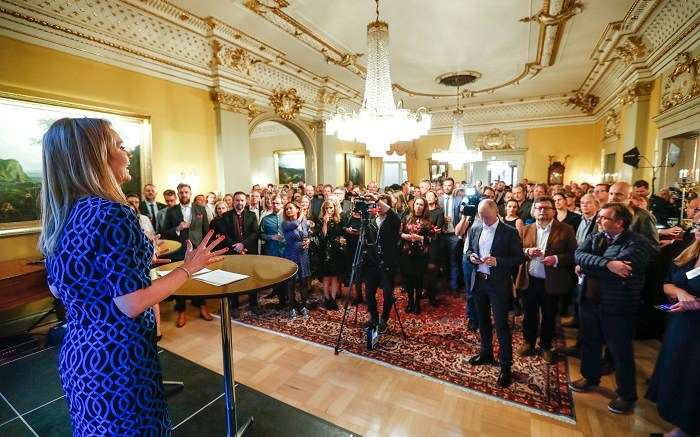 Minister of Culture Linda Hofstad Helleland. Reception for 250 Norwegian artists and artists