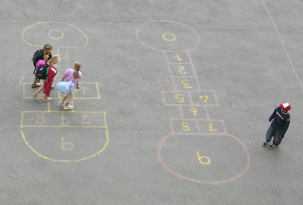 Children play at school