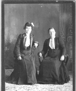 Anna Almlie (left) and Petrine Almlie. Petrine had both a sister and a sister-in-law named Anna Almlie; it's not clear which is pictured. Photo from the collection of Iris Lambert.