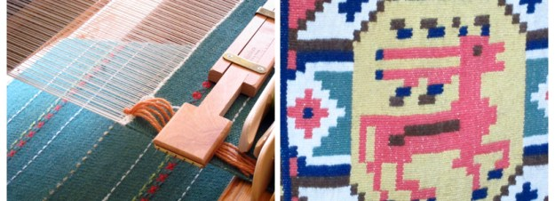 A rug on the loom and a tapestry