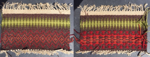 Danskbrogd sample, front and back, woven by Jan Mostrom