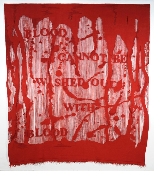 "Unn Sønju, ""Blood cannot be washed out with blood,"" 2010. Wool on wool warp, 280 x 250 cm."