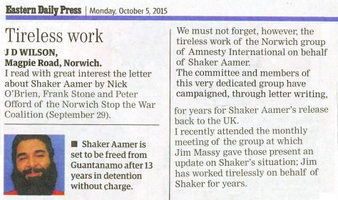 EDP 5th October 2015 comment on release of Shaker Aarmer