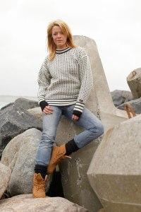 Norwool stickad vit Fiskartröja