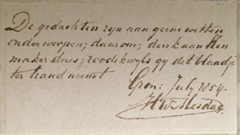 The poem on the back of the newly discovered Hendrik Willem Mesdag watercolour painting