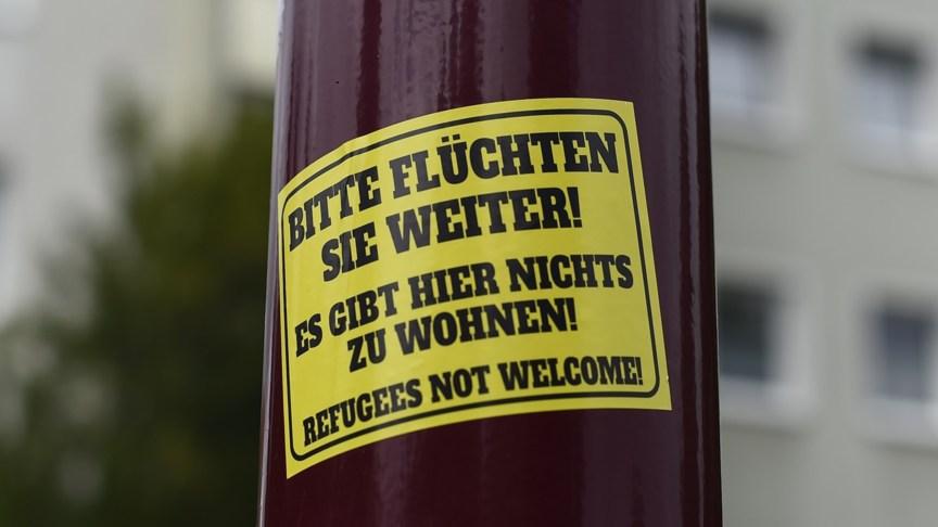 Neo-nazi anti-refugee sticker in Freital