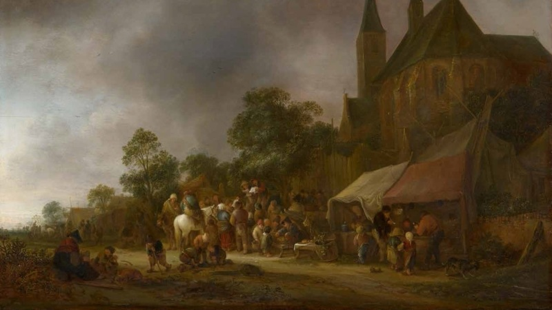 A Village Fair with a Church Behind, by Isaac van Ostade, censored version