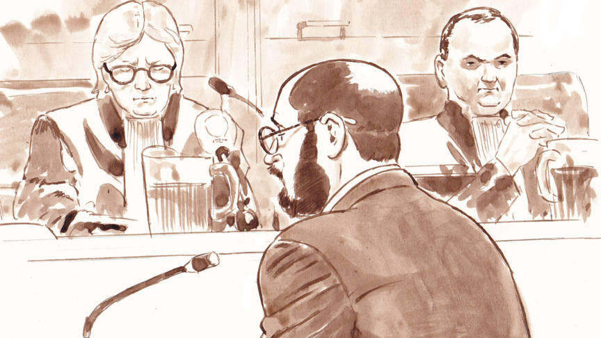 Bart van U. on trial, ANP drawing