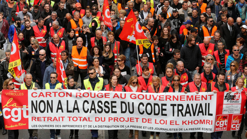 French workers demonstrate against anti-worker policies, Reuters photo