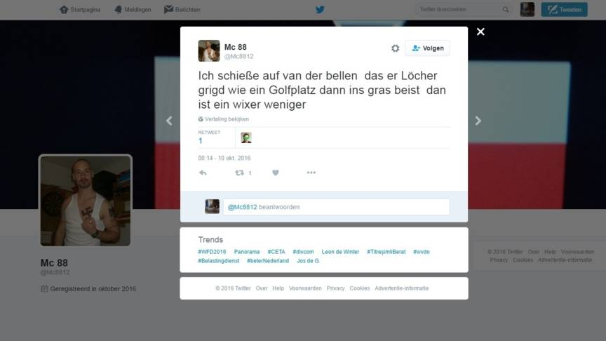 Nazi death threat to Van der Bellen tweet