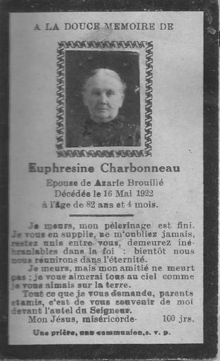 carte mortuaire d'Euphrosine Charbonneau