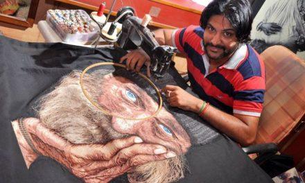 Alfaiate indiano faz 'pinturas hiperrealistas' com máquina de costura
