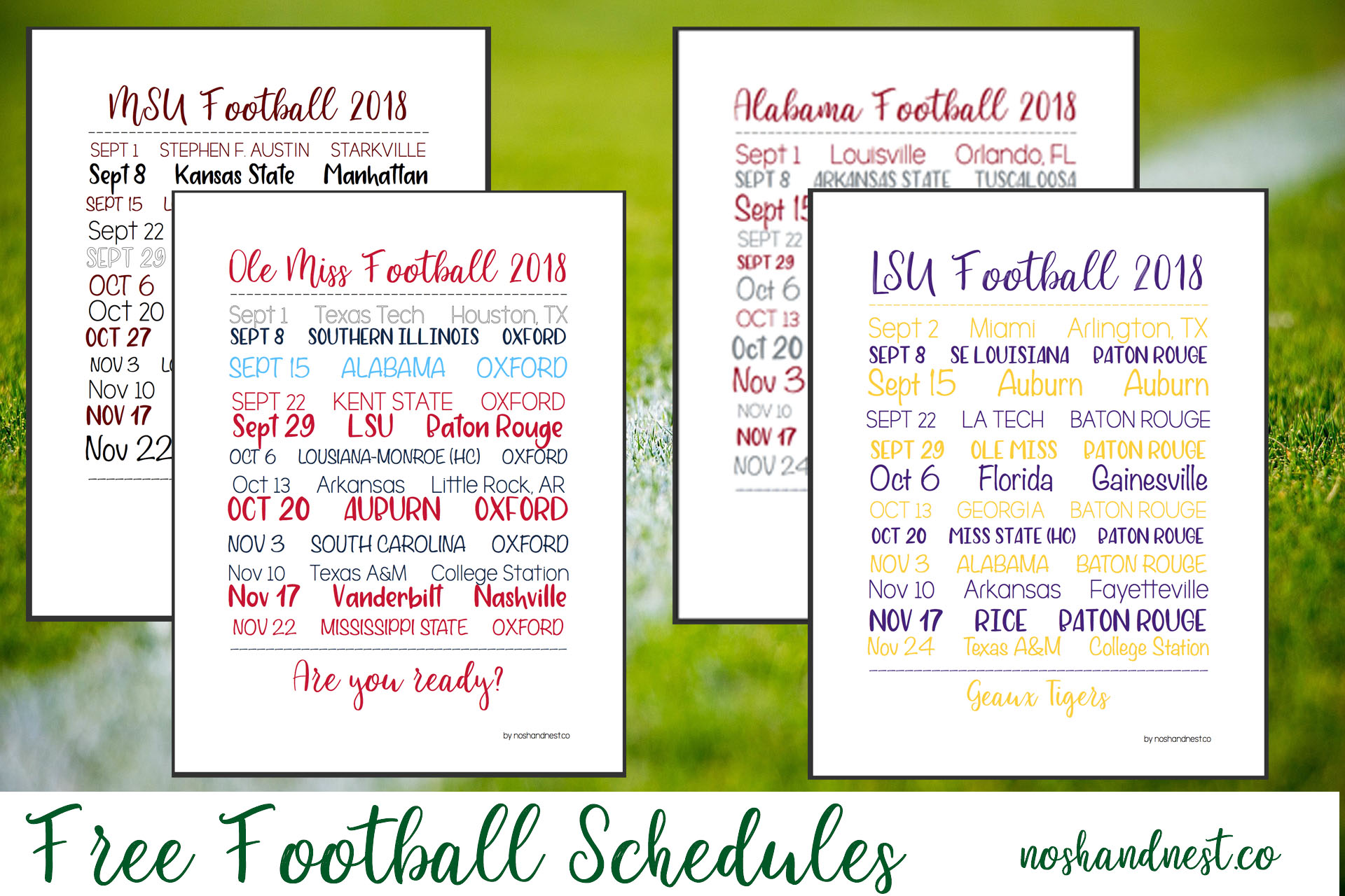image about Printable College Football Schedules named Totally free Soccer Agenda Printables - Nosh and Nest