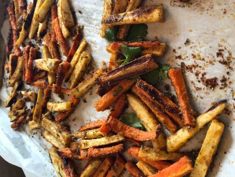 roasted parsnip and carrot fries