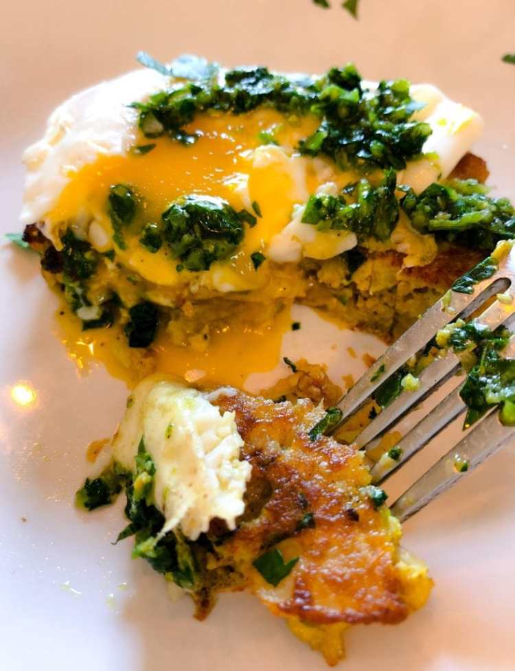 cauliflower fritters with an over easy egg