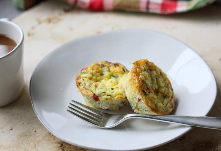 two egg muffins with a cup of coffee