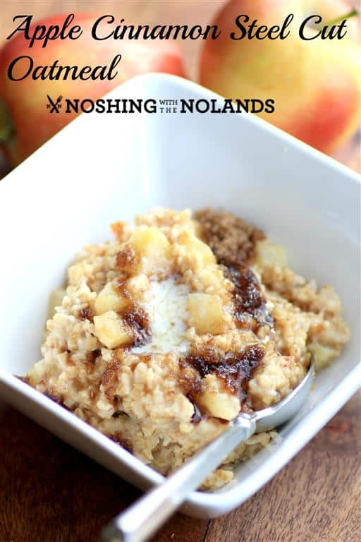 Apple Cinnamon Steel Cut Oatmeal by Noshing With The Nolands